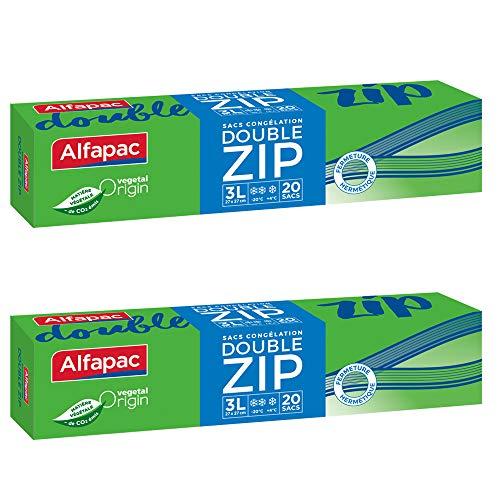 Alfapac - 20 Sacs Congélation Double Zip - 3l - Vegetal Origin - Lot De 2 - Sacs De Dimensions 27 X 27 Cm