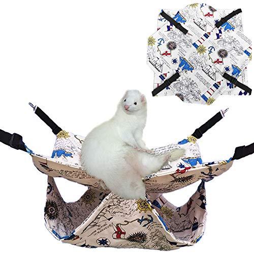 Oncpcare Hamaca delgada para mascotas de verano, cama de chinchilla, cama para hurones, hamaca, conejillo de indias, accesorios para animales pequeños, oso dorado degu ardilla jugando descansa