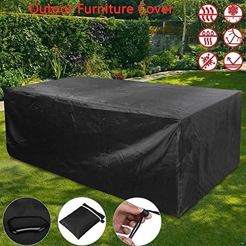 BCGT 10 Tamaños Muebles al Aire Libre Cubierta de la Lluvia Impermeable Oxford Mimbre Sofá Protección Conjunto Jardín Patio Lluvia Nieve Prueba de Polvo Negro (Specification : 242x162x100cm)