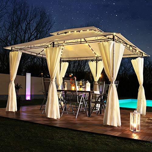 Swing & Harmonie LED - Pavillon 3x4m Minzo - inkl. Seitenwände mit LED Beleuchtung + Solarmodul Designer Gartenpavillon optional mit Moskitonetz Gartenzelt Partyzelt (ohne Moskitonetz, Creme)