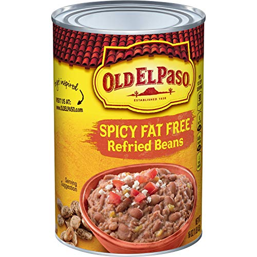 Old El Paso Spicy Fat Free Refried Beans, 16 oz (Pack of 12)
