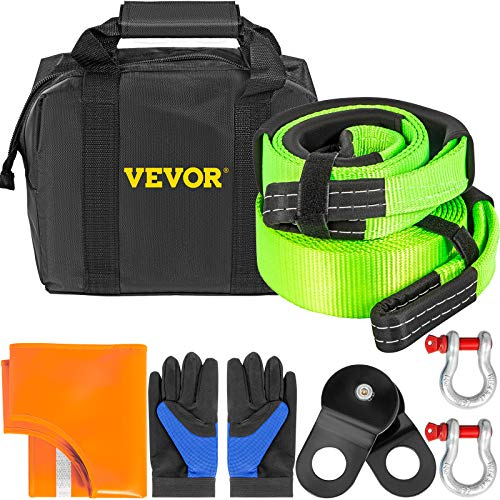 """VEVOR Winch Recovery Kit, 100% Nylon & Forged Steel Snatch Block Kit with 3""""x20' Towing Strap + 3""""x8' Tree Saver Strap & 2 Bow Shackles of 58000 LBS/26308 KG Each, Off Road Recovery Gear 8PCS"""