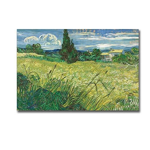 Artista Van Gogh Green Field pintura al óleo sobre lienzo carteles e impresiones Cuadros arte de pared para decoración del hogar-Pintura de Diamante 5D de bricolaje-Regalo de Navidad