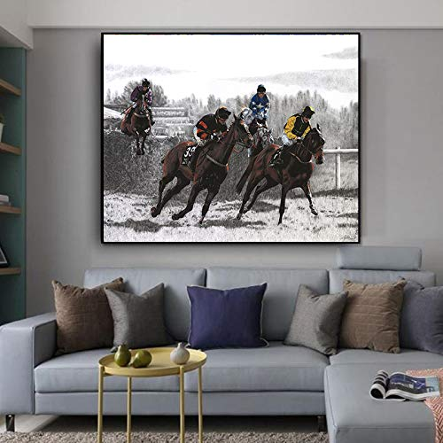 NIMCG Ölgemälde Wandbilder für Wohnzimmer Home Decor Abstraktes Reiten Race Bunte Leinwand Kunst Home Decor (kein Rahmen) 60x80CM