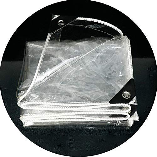 Lona- Plástico Transparente Impermeable Lona de Protección con Ojales,0.3mm Aislamiento de Balcón Ventana PVC Película de Invernadero,Toldos de Terraza Jardín Aire Libre (2.4x3m/8x10ft)