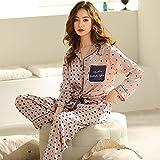 ML S HJDY 2 Unids Pijamas Conjuntos Mujeres Solapa Imitación De Seda Manga Larga Ropa Interior Ladies Sexy Satin Tops + Pantalones Camisón Dormir Ropa Nueva,Rosado,M
