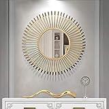 YUXIwang Espejo de maquillaje espejo de maquillaje Deco espejo, compacto de metal portátil ahorro de espacio para el hogar claro redondo sala de estar espejo interior de pared 80 x 80 cm