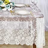 ShinyBeauty Mantel de Encaje Mantel Floral Mantel Rectangular Blanco Mantel de 60x120 Pulgadas Crema...