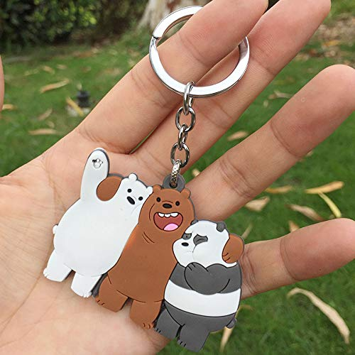 DEOLBA Cute We Bare Bears Rubber Keychain 3D Panda ice Bear Grizzly Cartoon Pendant Keyring for Children Charms Gift