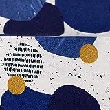 Viskosejersey Sarah Kreise - Steine, blau 50 x 160 cm