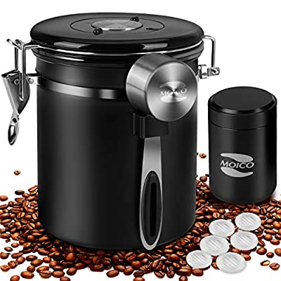 Coffee Container MOICO Coffee Stainless Steel Container-One Way Co2 Valve Airtight Coffee Canister with Coffee Scoop ? Travel Jar(Black,16oz+0.65oz)