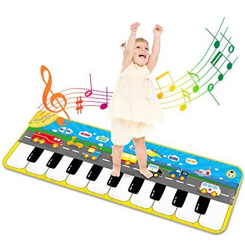 Alfombra Piano de Suelo Alfombra Musical de Teclado Alfombrilla Musical Tapete Baile Estera Piano Mat Touch Juego Regalo Juguete para Niños Bebe 120 x 39 cm