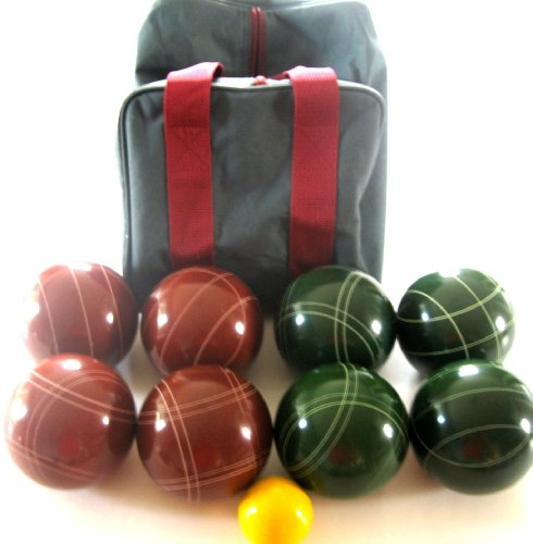 Epco Premium Quality Tournament Set - 107mm Red and Green Bocce Balls with nylon.