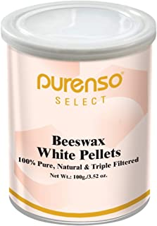 Purenso Select - 100% Organic Beeswax Pellets, Triple Filtered - White, 100g Cosmetic Grade I Easy Melt for DIY Candles Sk...