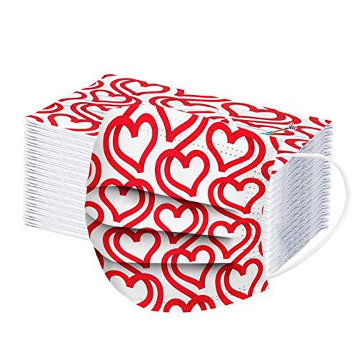 JMNy Erwachsene Mundschutz Multifunktionstuch, Einweg 3-lagig Valentinstag rotes Liebesweinglas Gedruckt Maske, Staubdicht Atmungsaktive Vlies Mund-Nasenschutz Bandana Halstuch