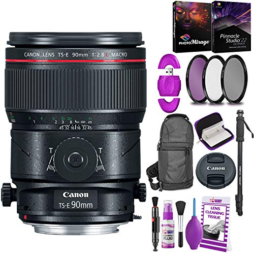 Canon TS-E 90mm f/2.8L Macro Tilt-Shift Lens with Bonus Bundle | Memory | Backpack | Monopod | Cleaning Kit | International Model
