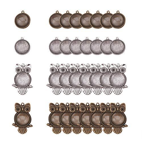 PandaHall Elite - Bandejas redondas de aleación tibetana con forma de búho en blanco, bisel con azulejos redondos de cabujón de cristal transparente para manualidades