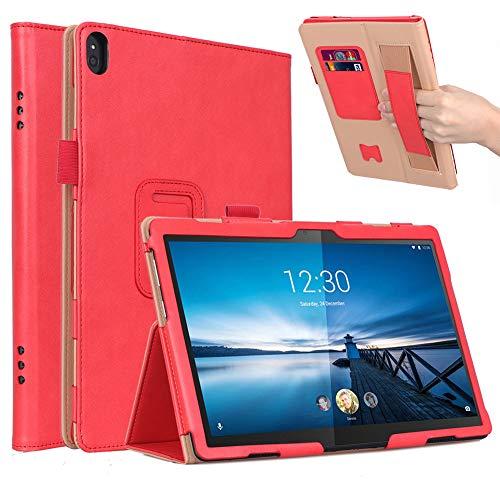 ISIN Premium PU-Leder Schutzhülle Tasche Stand Cover Allgemein für 10,1-Zoll Lenovo Tab P10 TB-X705, Smart Tab M10 HD TB-X505, Tab M10 FHD TB-X605 und Tab5 10.1 Android Tablet PC(Rot)