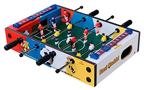 FSJD Juego futbolín Mesa, para niños y Adultos, 4 Polos, 2 Pelotas, fútbol de Mesa Tradicional fútbol de Mesa Familiar Gran Juego de Pelota de fútbol