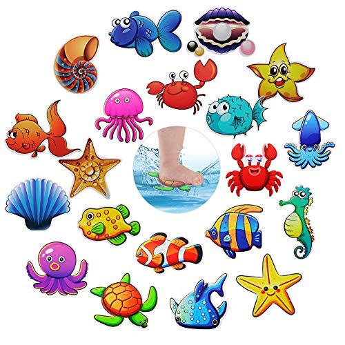 HANGNUO Anti-Rutsch-Sticker für Badewannen, Badausstattung Cartoon-Aufkleber, Wandtattoos & Wandbilder, Wasserdicht, Selbstklebend (Meereslebewesen, 20 Stück)