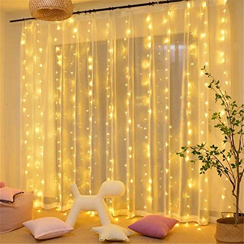iceagle 300 LED Window Curtain String Lights USB,10 Strands Curtain String Lights for Wedding Party Home Bedroom Indoor Wall Decorations with Hooks and Remote (9.8X 9.8Ft, Colorful)