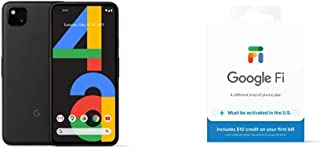 Google Pixel 4a - New Unlocked Android Smartphone - 128 GB of Storage - Up to 24 Hour Battery - Just Black with Google Fi ...