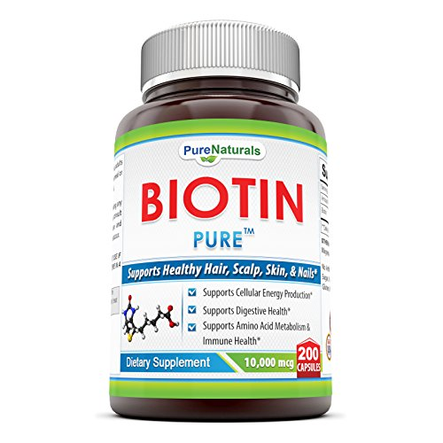 Pure Naturals Biotin Dietary Supplement - 10, 000 mcg - 200 Capsules - Supports Healthy Hair, Skin & Nails - Promotes Cell Rejuvenationand Energy Production. *