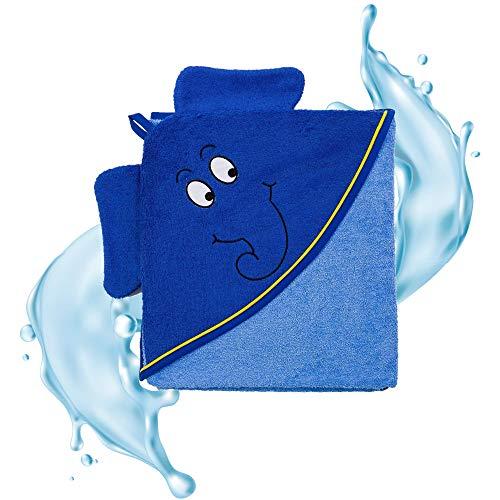 Smithy® Kinder-Kapuzenhandtuch aus Baumwolle – super weiches und praktisches Babyhandtuch mit Kapuze – blau mit Original Blauer Elefant aus Die Sendung mit der Maus (Blau)