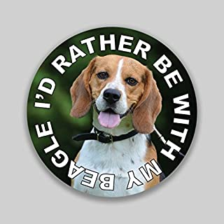 JMM Ind. I'd Rather Be with My Beagle Puppy Dog Vinyl Decal Sticker Car Window Bumper 2-Pack 4-Inches Round Premium Quality UV-Protective Laminate PDS1313