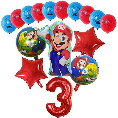 Globos 16pcs Dibujos animados Super Mario Luigi Bros Bloons Set 12inch Latex 30 pulgadas Número Globo Decoraciones de fiesta de cumpleaños Decoraciones para niños Regalo ( Color : Red number 3 set )