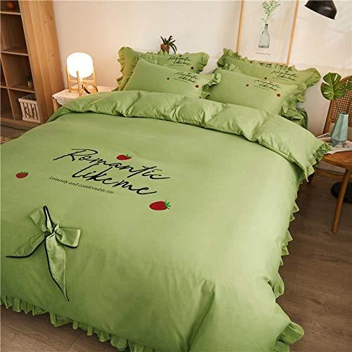 LDDPP Falda de cama con volantes, bordado de color sólido, falda para cama de viento de princesa, cuatro piezas, con lazo, juego de cama, Fresa romántica verde brillante,1.5m(5ft)/1.8(6ft) Flat Sheet