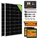 ECO-WORTHY 1kW·h Kit Completo de Paneles Solares de 240W 12V Fuera de la Red para RV / Barco: 2 Paneles Solares de 120W + 20A Controlador + 2 Baterías de Litio 20Ah + 600W Inversor Solar