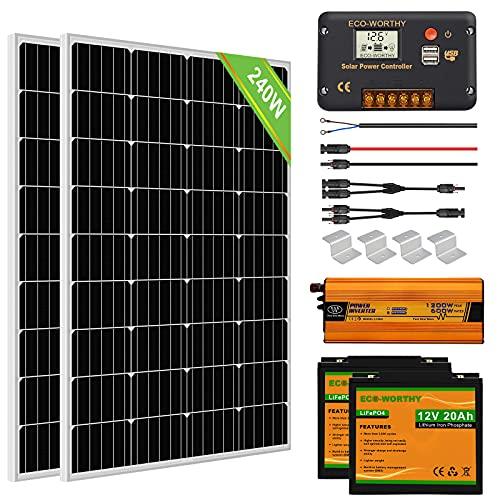 ECO-WORTHY 1kW·h Kit Panneau Solaire Complet 240W 12V Système Hors Réseau pour RV/Bateau: 2 Panneaux Solaires 120W + 20A Contrôleur + 2 Batteries au Lithium 20Ah + 600W Onduleur Solaire