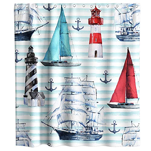Nautical Sailboat Stripe Lighthouse Anchor Theme Cloth Fabric Shower Curtain Sets Bathroom Decor with Hooks Waterproof Washable 72 x 72 inches Blue Red and Black