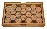 LOGOPLAY Hexadomino - Hexamino - Sechseck-Domino - Legespiel - Gesellschaftsspiel aus Holz mit 63 Spielsteinen -