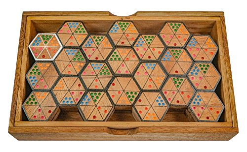 LOGOPLAY Hexadomino - Hexamino - Sechseck-Domino - Legespiel - Gesellschaftsspiel aus Holz mit 63 Spielsteinen