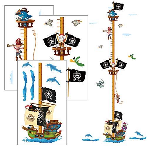 AirSMall Piraten Messlatte Wandtattoo Kinderzimmer Wandsticker Körpergröße Messen Kinder Wall Stickers Kindermesslatte als Erste Wohnung Geschenk Wandaufkleber Seeräuber Wanddeko