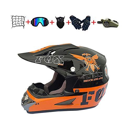Casco Motocross Niño, ECE Certificación Casco de Moto para niños Downhill.Cascos de Cross de Moto Set con Gafas/Máscara/Red Elástica/Guantes (B, S / 52-53 cm)