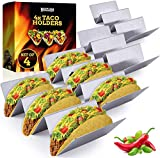 Taco Holders Stainless Steel Set of 4 - Reversible Tortilla Holder Tray Can Hold 2 or 3 Shells - Taco Tuesday Makes Prep a Breeze, No Mess - Dishwasher Safe