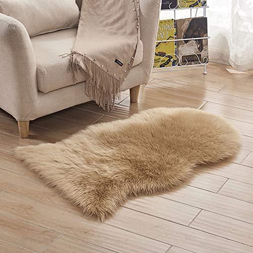 Chezaa - Tappeto antiscivolo in pelliccia sintetica, 50 x 80 cm, colore: Marrone