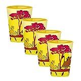 Set di 4 Bicchieri per bambini in plastica Dura per Bambina e bambino vari personaggi da 260 ml con licenza (Re leone giallo)
