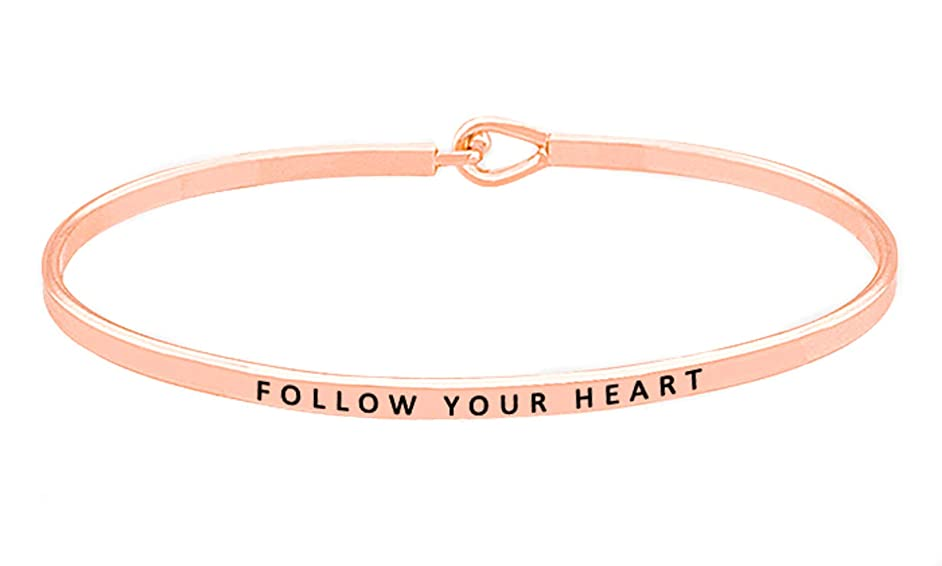 OHBOOBA Inspirational Expandable Thin Engraved Message Follow Your Heart Cuff Bangle Bracelets