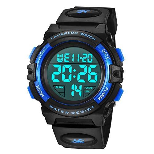 Reloj para niños de 6 a 15 años, Cronógrafo Multifuncional Deportivo Digital para Exteriores LED 64 M Reloj Despertador Resistente al Agua analógico para niños con Banda de Silicona Azul