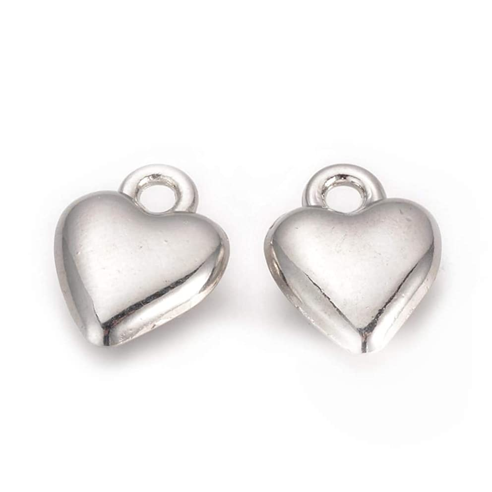 Sparkling Real 950 Platinum Plated Silver Brass Puffy Heart Charms for Jewelry Making, Bracelets (14mm)