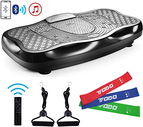 FITODO Pedana Vibrante di Oscillante Dimagrante per a Corpo-Telecomando Senza Fili/Musica Bluetooth/Bande con Maniglia/120 Livelli di velocità(con Bande di Lattice, Nero)