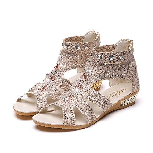 TTLOVE FrüHling Sommer Damen Frauen Keil Sandalen Mode Fischmaul Hohl Roma Schuhe Bequem Schaftsandalen,Sommerschuh Sandale,ReißVerschluss Flach Sandalette (Beige,40)