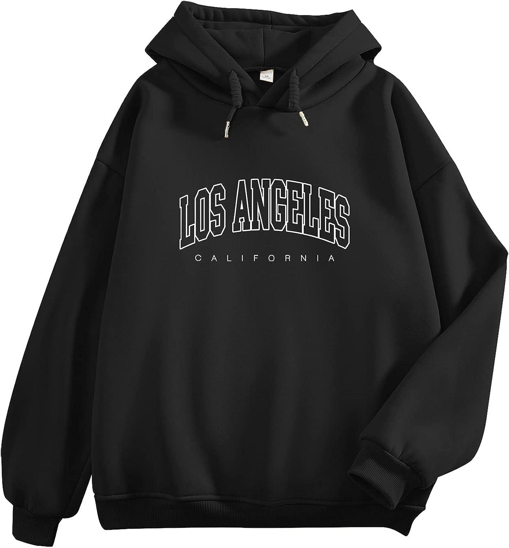 KEEVICI Women's Oversized Sweatshirt Los Angeles California Hoodie Boyfriends Pullover Drop Shoulder Aestheic Clothes