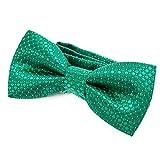 DonDon pajarita noble para niños chico - combinada y ajustable 9x 4,5 cm - de color verde - brillada con argénteo puntos