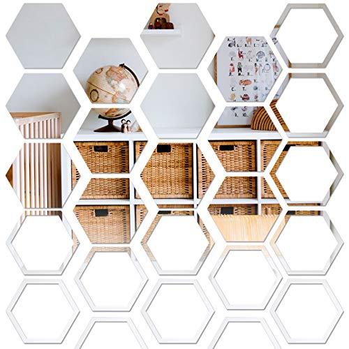 Pajaver 24 Stück Spiegel Wandaufkleber, Acryl Wandspiegel Selbstklebend Hexagon Spiegelfliesen für Wanddekoration Zuhause Flur Kleiderschränke Wohnzimmer Schlafzimmer Sofa TV Hintergrund-Silber