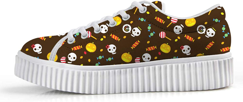 Owaheson Platform Lace up Sneaker Casual Chunky Walking shoes Low Top Women Halloween Grimace Pumpkin Skull Candy Lollipop